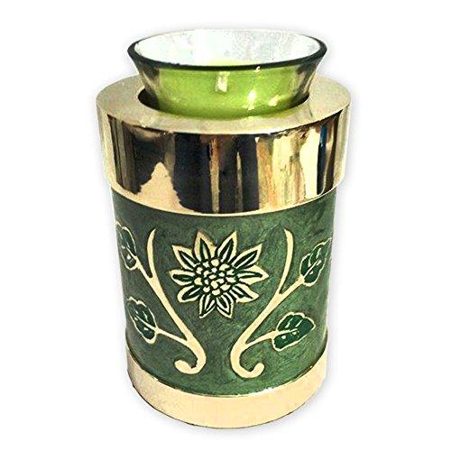 Beautiful Life Urns Green Garden Brass Cremation Urn, Tealight Size