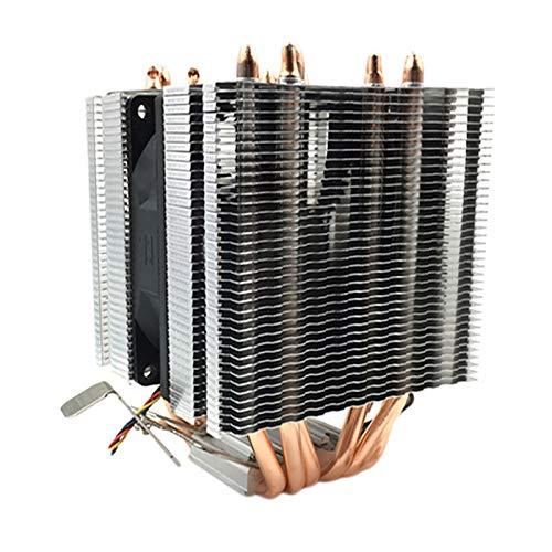 Gaoominy Enfriador de CPU Ventilador de Enfriamiento para 1155 1366 General 6 Tubo de Calor Ventilador de CPU Control de Temperatura de 4 Cables Sin Luz Ventilador úNico