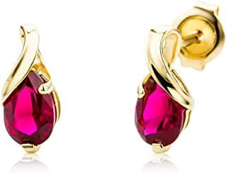 620292192 Miore 9 kt (375) Yellow Gold Pear Shape Earring with Ruby (1.08 ct