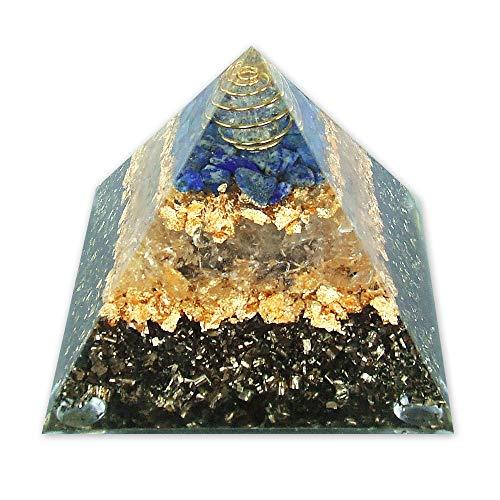 emotion & design Orgonit Pyramide - mit Lapis Lazuli, Bergkristall und Messing