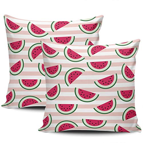 Healbrighting Cute with Red Watermelon on Pink Stripes Pillow Covers Square Home Decorative Pillowcase 24 x 24 Inch Throw Pillow Cases Double Sides Pattern (2-Pack)