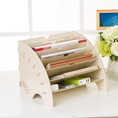 Büro Schreibtisch Organizer Ordnungssystem Tisch Organizer Stifteköcher Multifunktionale Bürobedarf,Beige,35.5 * 27 * 27Cm