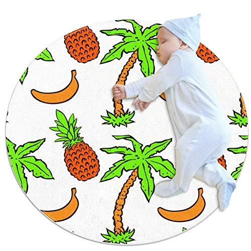 laire Daniel Abstract Bloemen Met Tropische Kokos Palm Bomen Grote Baby Tapijt voor Kwekerij Kids Ronde Warme Zachte Activiteit Mat Vloerbedekking Tapijten Anti-slip voor Kinderen Peuters Slaapkamer, 27.6x27.6IN