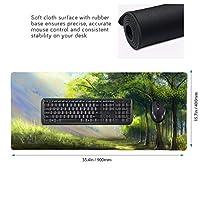 油絵 緑色 樹木 マウスパッド ゲーミングマウスパット デスクマット キーボードパッド 滑り止め 高級感 耐久性が良い デスクマットメ キーボード パッド おしゃれ ゲーム用(90cm*40cm)