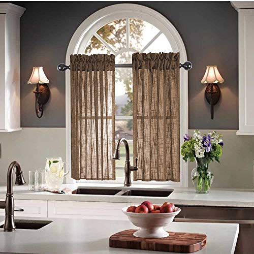 Kitchen Curtains 24 inch Length Sets Semi Voile Sheer Kitchen Window Curtains Brown Small Curtains for Kitchen Windows 30 X 24 (60 x 24 Inches 2 Short Panels) Striped Linen Textured Cafe Curtains