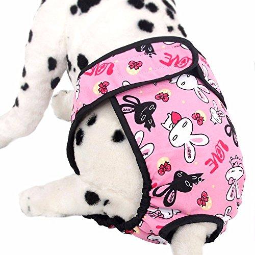 iEFiEL Pañal Reutilizable Lavable para Mascota Perro Braguita Grande de Algodón Ajustable Permeable al Aire Rosa L