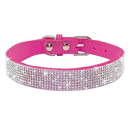 ZMJYH Collar de Perro de Diamantes de imitación, Collares de Gato de Cachorro Cuello de Gatito de Cuero Ajustable para pequeños Perros medianos Cats Chihuahua Mops Yorkshire,12rose,32~38cm
