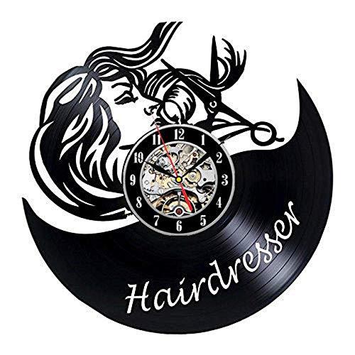 SKYTY Reloj De Pared De Vinilo Disco De Pared De Vinilo para Personalización del Nombre del Peluquero Decoración Moderna Y Vintage-con luz led