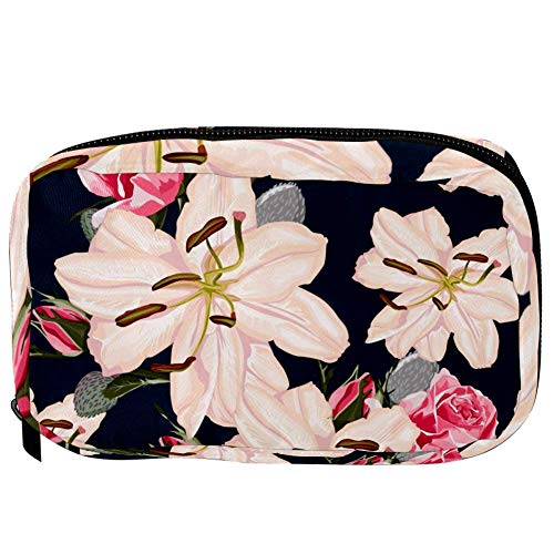 TIZORAX Cosmetic Bags Lily And Roses Handy Toiletry Travel Bag Organizer Makeup Pouch for Women Girls