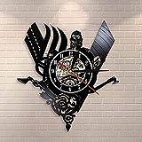 yltian Reloj de Pared con Disco de Vinilo Retro Pirate Odin Reloj Retro Medieval Thor Ragnarok Norse Rune