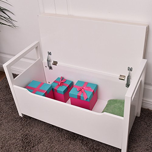 allgoodsdelight365 Shoe Bench Storage Rack Cushion Seat Ottoman Bedroom Hallway Entryway White