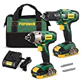 Drill Combo Kit, 20V 1600In-lbs Impact Driver, 398ln-lbs Cordless Drill, 1H Fast Charging, 2x2.0Ah Batteries, LED Work Light,2PCS Accessories for Drilling Wood, Metal and Plastic- POPOMAN BHD620B