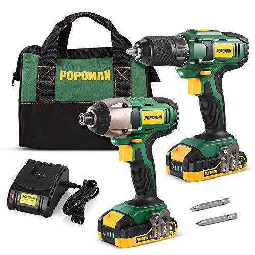 POPOMAN Drill Combo Kit, 20V 1600In-lbs Impact Driver, 398ln-lbs Cordless Drill, 59 Min Fast Charging, 2x2.0Ah Batteries, LED Work Light, Metal Chuck, 2PCS for Drilling Metal- BHD620B