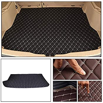 Longzhimei Leather Car Trunk Mats for Volkswagen Polo Hatchback 2014-2018 Car Boot Liner Protector Cover Cargo Liner Set Anti-Slip Black Beige