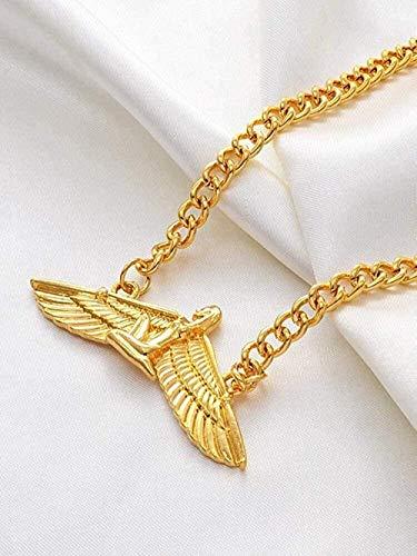 LKLFC Collar Mujer Collar Hombre Collar 53Cm Fabuloso Diosa Egipcia Collares Collar de ala de Color Dorado Babero Ankh Wicca Joyería Pagana Egipto Religión Colgante Collar Niñas Niños Regalo