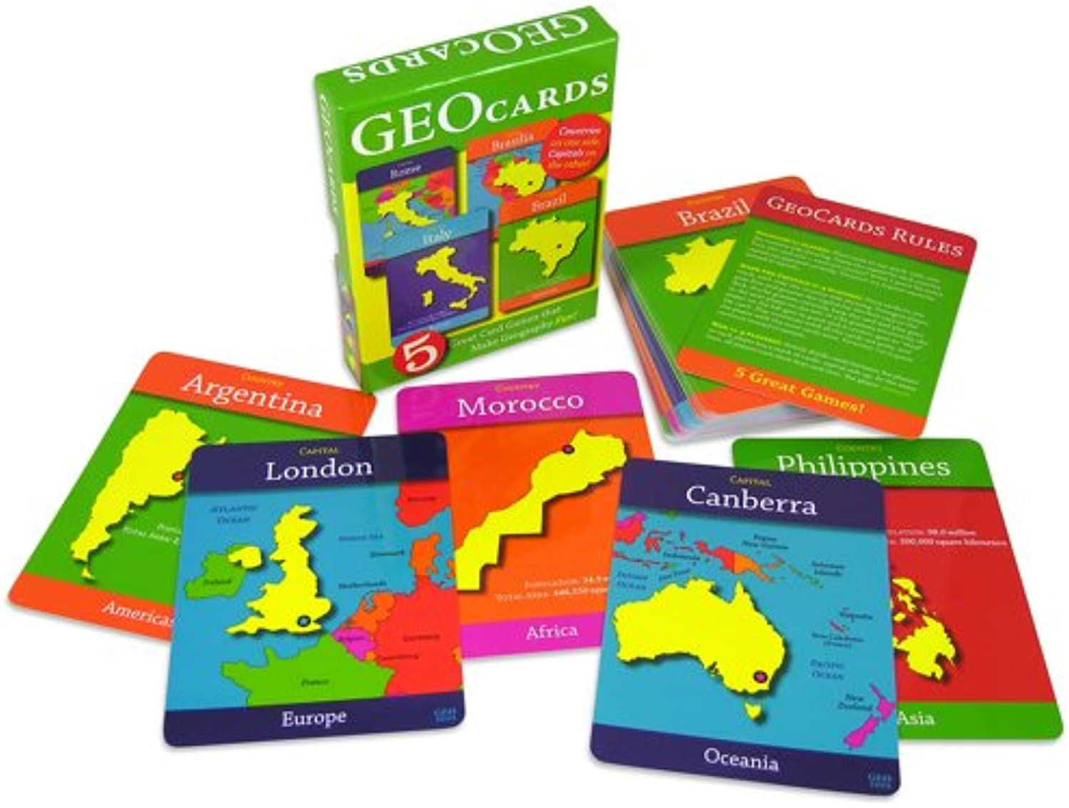 GeoCards World  Educational Geography Card Game  Learn As You Play Excellent for Ages 4 and up