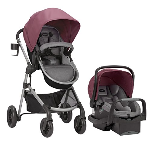 Evenflo Pivot Modular Travel System, Lightweight Stroller, Sleek & Versatile, Easy Infant Car Seat Transfer, Oversized Storage Basket, Travel Stroller, 3-Panel Canopy, Dusty Rose