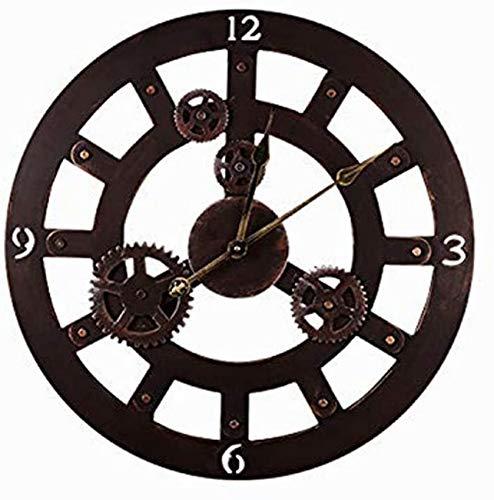 SBDLXY 23.6 '' Gear Machinery Arte de Hierro Forjado Reloj de Pared Grande Estilo Moderno Reloj de Pared silencioso Creativo Vintage Reloj de Metal Forjado Reloj de Hierro Industrial Craft