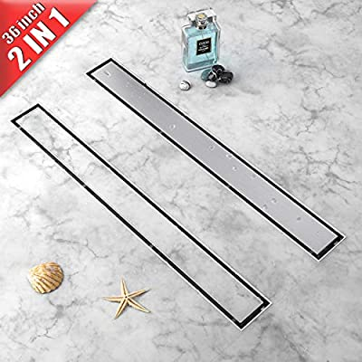 Linear Shower Drain 2 IN 1 36-Inch, 304 Stainless Steel Shower Floor Drain with Tile Insert Grate?New type Linear Drains
