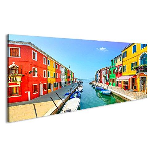 islandburner Bild Bilder auf Leinwand Venedig Wahrzeichen, Burano Insel Kanal, Bunte Häuser und Boote, Italien Langzeitbelichtung Fotografie Wandbild, Poster, Leinwandbild EGU