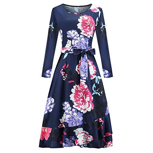Why Choose BALABA◕。Women Autumn Long Sleeve Floral Dresses, Asymmetrical Hem Faux Wrap Maxi Dres...
