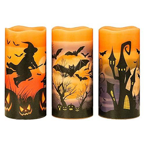 Huante Flashing Flameless LED Candles with 6 Hour Timer, Batteries, Mouse, Castle, Witch Sticker, Pack of 3 (3 x 6 Inches)