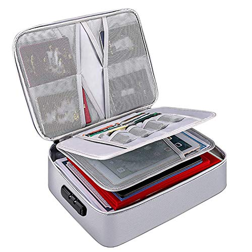 Fransande - Bolsa de almacenamiento de documentos ignífugo, cartera de transporte, almacenamiento de documentos portátil multicapa, adaptada a los documentos importantes