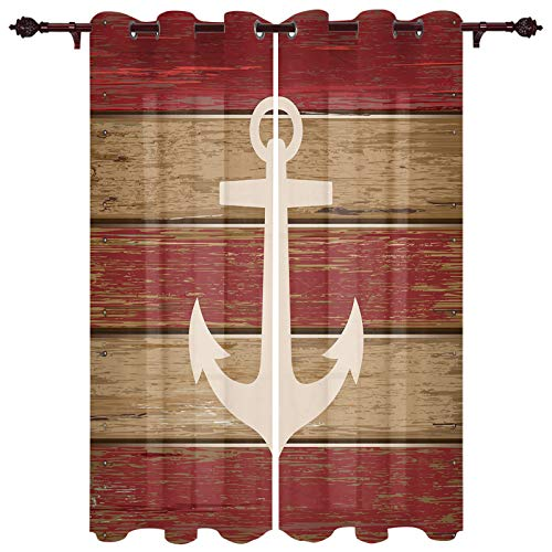 SUN-Shine Retro Nautical Anchor Pattern Bedroom Window Curtains Vintage Wood Barn Kitchen Panels with Grommet Top for Home Decoration Window Drapes Treatment Set 52x84Inchx2