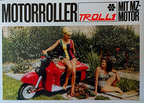 Schönes IWL Prospekt TROLL 1 Motorroller mit MZ Motor DDR STIL 1964