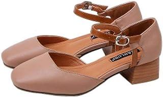 [えみり] レディース サンダル ヒール パンプス シューズ 夏 スクエアヒール 太ヒール フォマール靴 ビジネス オフィス 美脚 エレガント きれいめ 大きいサイズ