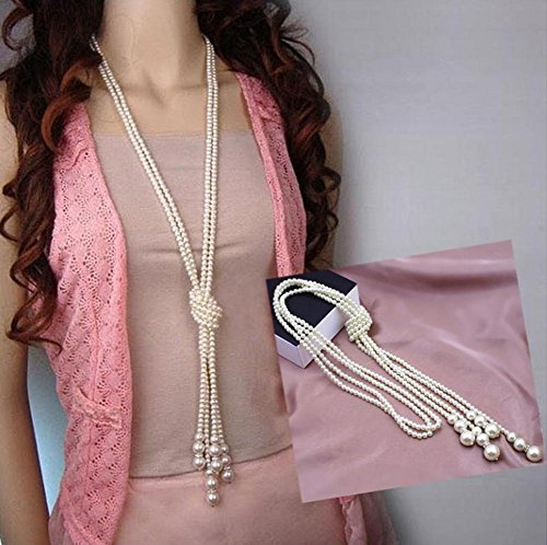 Distinct Fashion White Artificial Pearls Long Chain Charms Sweater Necklace Jewelry Accessories