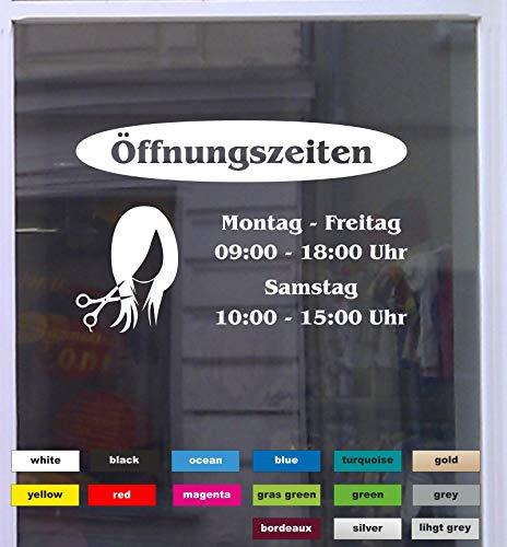 Don Cappello Öffnungszeiten Friseur Schaufensterbeschriftung Aufkleber Werbung Laden Geschäft Hellgrau Breite 30 cm