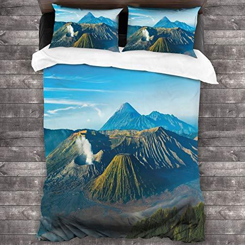 HARXISE Microfibra Juego de Cama Efectos 3 Piezas,Volcán Monte Bromo Durante el Amanecer en Java Oriental Indonesia Naturaleza majestuosa,1(140x200cm)+2(50x80cm)