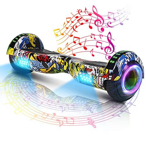 Hoverboard-Hoverboard pour Enfants, Hoverboard Auto-équilibré à Deux Roues de 6,5 Pouces, avec Bluetooth et lumières Clignotantes à LED, adapté aux Enfants de 6 à 12 Ans (Danse de Rue)