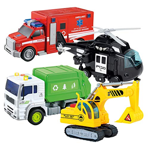JOYIN 4 PC Friction Powered City Play Vehicle Toy Set Including Construction Exvactor, Police Helicopter, Garbage Truck, Ambulance, Vehicle Toy with Lights and Sound Siren