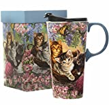 CEDAR HOME Travel Coffee Ceramic Mug Porcelain Latte Tea Cup With Lid 17oz. Flower and Cat