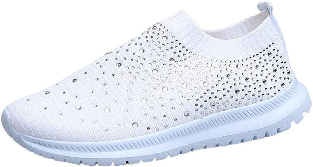Womens Sparkle Rhinestone Slip On 5 popular Loafers Knitted Snea NEW Anti-Slip