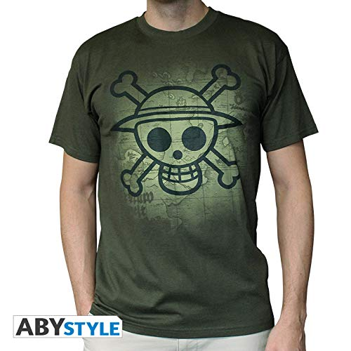 """ABYstyle - ONE PIECE - Tshirt """"Skull with map Used"""" homme kaki (M)"""