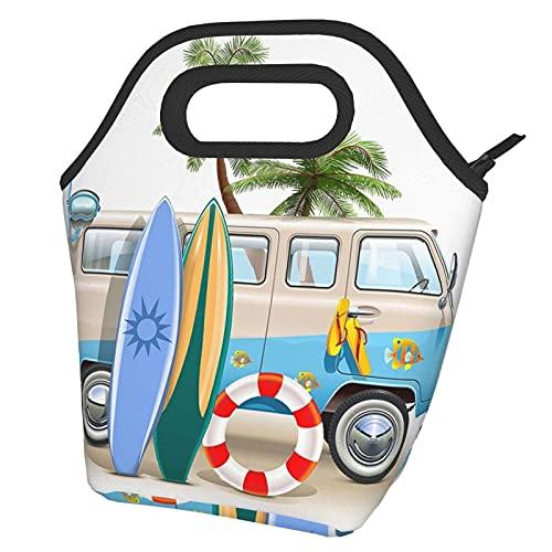 Bolsa de almuerzo para surf con aletas de buceo con aislamiento impreso, bolsa de almuerzo abierta, ligera, aislada y reutilizable