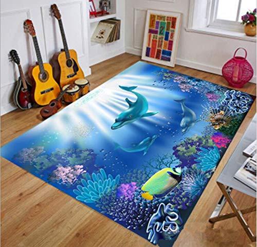 Kinderteppich 3D Unterwasserwelt Klar Texturdruck Kinderzimmer Spiel Kriechmatte Rutschfest 120cmx170cm