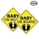 iFCOW Pegatina de Advertencia de Coche Pegatina de Bebé a Bordo Calcomanías de Coche Señales de Seguridad Autoadhesivas Fácil de Instalar Resistente Al Agua de Larga Duración