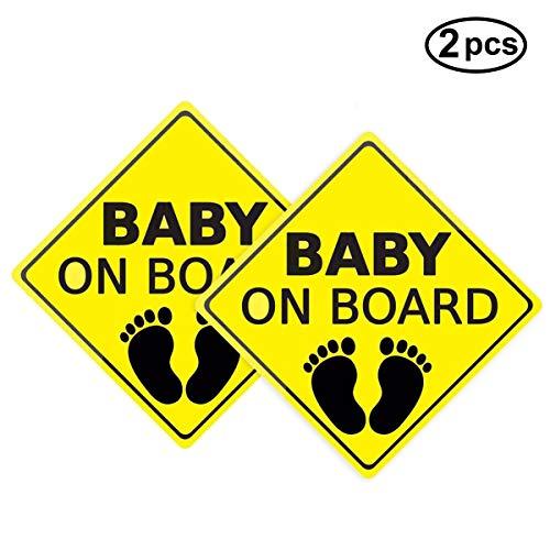 2Er Pack Baby an Bord Aufkleber Auto Aufkleber Sicherheitsschilder Selbstklebend Einfach zu Installieren Wasserdicht Langlebig -A