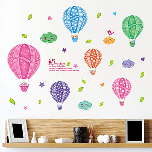 TAOYUE Air Balloon Wall Stickers for Kids Room Baby Nursery Room Living Room Waterproof Removable Poster PVC