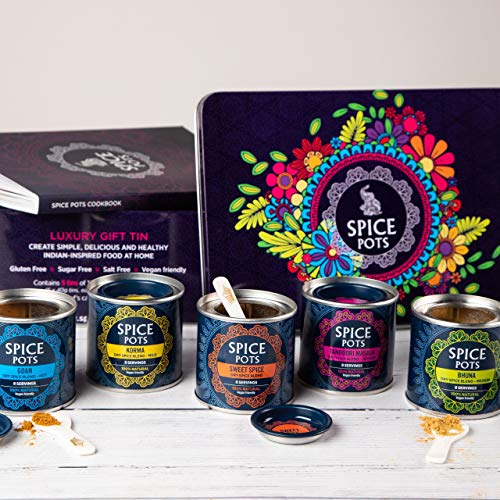 Spice Pots Luxury Spice Box - Curry Spices, Cooks Candle and Curry Cookbook Kit - Foodie Gifts for Curry Lovers - Gluten Free