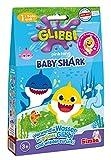 Simba 105953399 - Glibbi Baby Shark / 2-fach sortiert grün oder pink / Es wird nur ein Artikel geliefert / Pulver verwandelt Wasser in Gelmasse / Mit Badesticker / 300gr