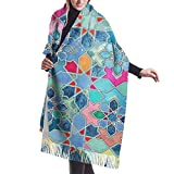 Butlerame Pretty Pastel Moroccan Tile Mosaic Cashmere Scarf para Mujeres Hombres Ligero Unisex Moda Soft Winter Scarves Fringe Shawl Wraps