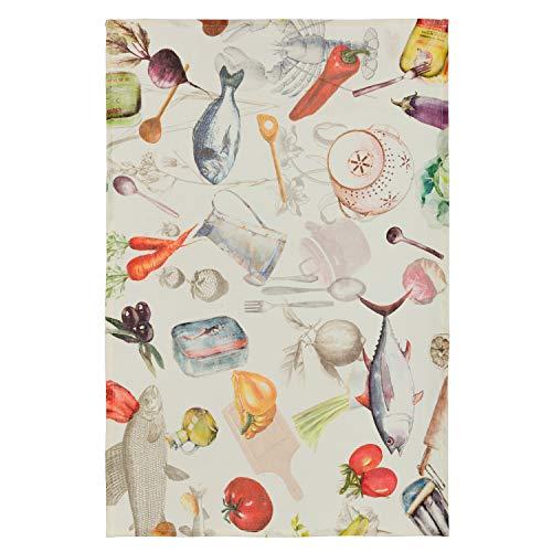 Coucke TTI-220-71132-000-CKE Torchon Sardines 100% Lin, Multicolore, 50 x 75 cm