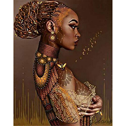 Mome 5D Full Drill Diamond Painting Kit, DIY Diamond Rhinestone Painting Kits for Adults and Children Embroidery Arts Craft Home Decor 30x40cm (African American Woman) (Black Women)