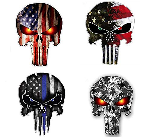 Pack of 4 Punisher Skull American Flag Vinyl Decal Stickers Car Truck Army Marines Military Navy Sniper Helmet Hardhat Union Toolbox Welding Water Bottle Laptop Graphic (3 INCH Tall)