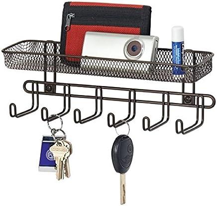 MetroDecor Boîte à clés mDesign avec casier du courrier en Bronze - idéal pour accrocher des clés, des laisses de Chien ou des Sacs à Main - Tableau des clés Mural Pratique
